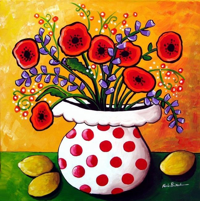 Red Poppies in Polka Dot Vase | Renie Britenbucher