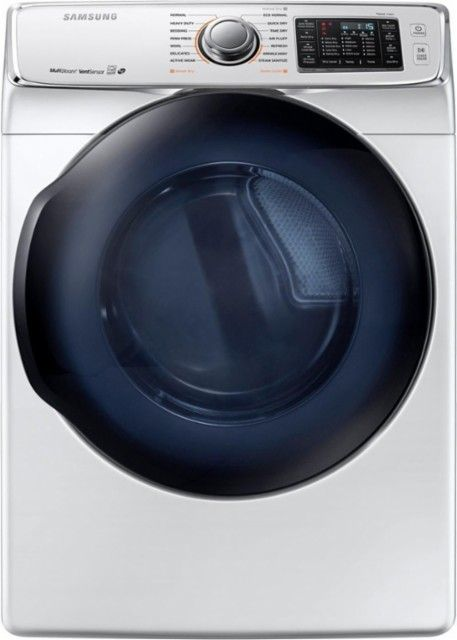 Samsung - 7.5 Cu. Ft. 14-Cycle Gas Dryer with Steam - White - Front_Zoom