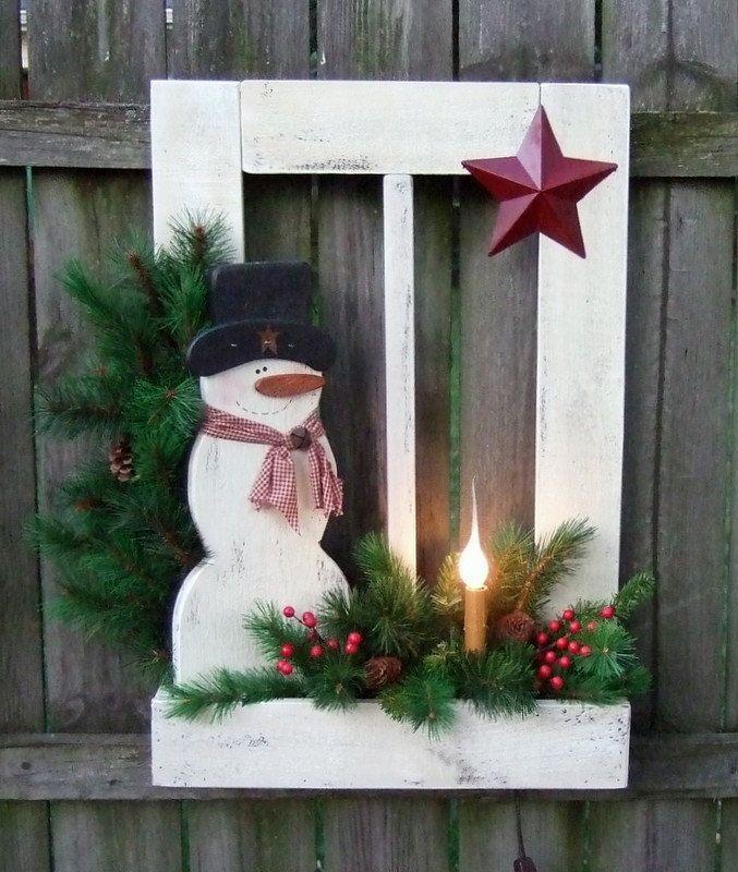 Christmas Snowman with Wood window and box pine and barn star.