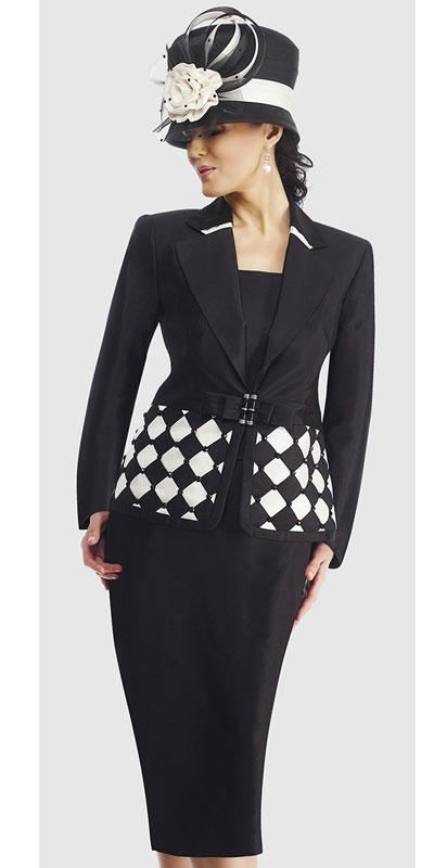 $298.90 Womens Black With Ivory or Red With Black Silk 3pc Formal Skirt Suit By Moshita Luxe 8 to 24