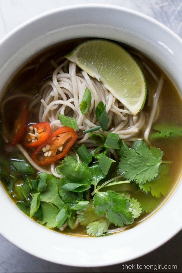 Feel Better Pho - 15 minute vegan, gluten-free, homemade pho & Soba noodles. Add chicken or beef…or keep it meatless. Substitute for chicken noodle soup during cold and flu. thekitchengirl.com