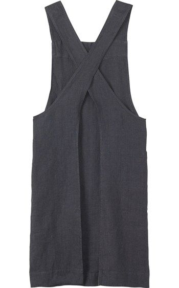 Linen apron. Would be so pretty as a dress.  Or smock dress.-- I am really intrigued by these cross back smocks.  I have one a friend made me, with the back open.  It's too pretty to wear as an apron, but the print isn't really something I would wear....fran