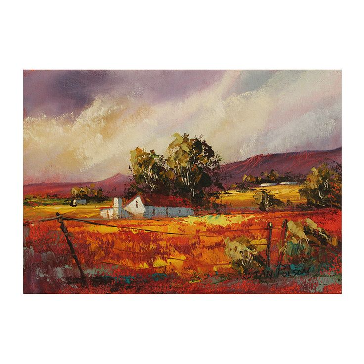 Stan Polson was born in Reddersberg, South Africa in 1971 and presently resides in the Pretoria, South Africa.  He is an acclaimed artist, known for his colourful, tranquil scenes.  https://www.imagineart.co.za/shop/polson-stan-landscape-with-orange-field/