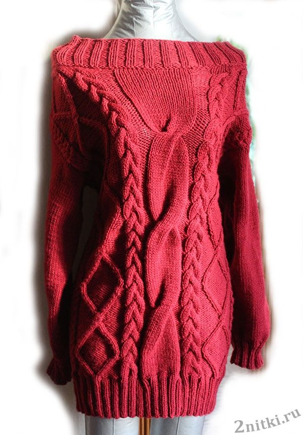 Небольшой мастер-класс по вязанию теплого платья с узорами из кос.