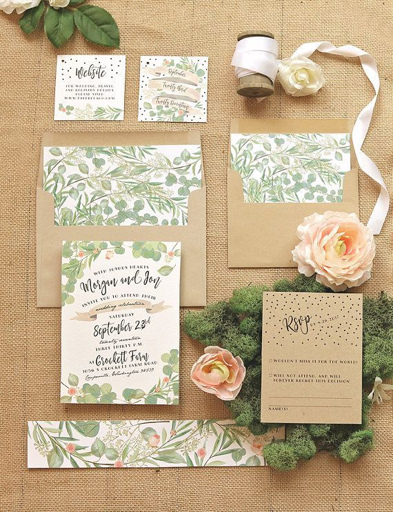 Greenery And Roses Wedding Invitation Set Rustic Wedding Invites