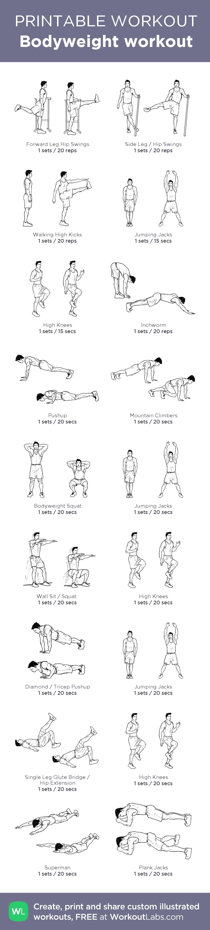 Bodyweight workout:my custom printable workout by @WorkoutLabs #workoutlabs #customworkout