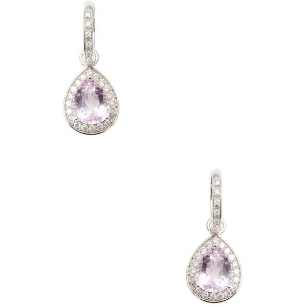 Rina Limor Women's Kunzite & Diamond Teardrop Earrings - Purple ($1,425) ❤ liked on Polyvore featuring jewelry, earrings, purple, long earrings, long diamond earrings, long drop earrings, teardrop diamond earrings and 14 karat gold diamond earrings