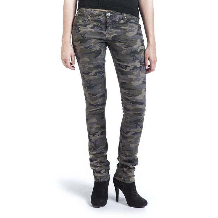 """#Jeans donna """"Skarlett"""" della collezione #REDbyEMP aderenti e sexy. A vita bassa, modello Slim Fit, con stampa camouflage, 5 tasche. Materiale: 98% cotone, 2% elasthane."""