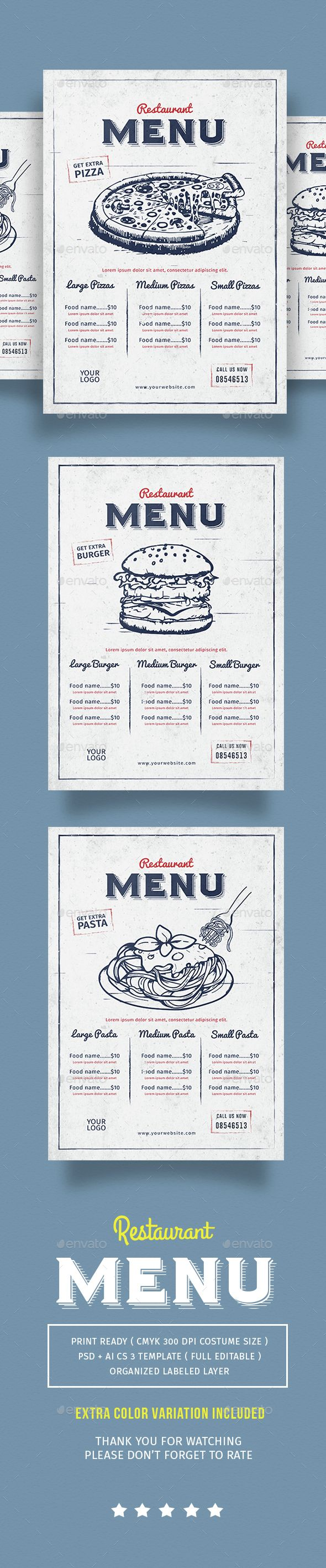 Vintage Restaurant Menu Template PSD, Vector AI. Download here: http://graphicriver.net/item/vintage-restaurant-menu/14567397?ref=ksioks