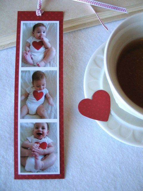 Slip your little one into a white onesie and tape or fabric glue a big red heart to the front of it. Snap a slew of photos, then lay them out on your computer. Print the images and glue them to bookmark-shaped poster board.