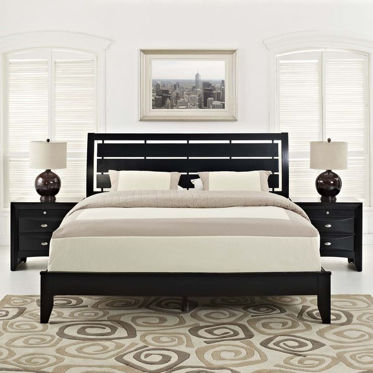 Olivia 3 Piece Queen Bedroom Set, Black - The see-through headboard wood paneling, compliments a series that conveys a petite sense of style to the bedroom. Olivia is a prim and proper set, that also introduces your room to a design that is both fun and creative. Coated in a laminated dark brown varnish, the oak veneer wood paneling of the series was designed to bring a semblance of modernity, to an otherwise minimalist lifestyle. Olivia requires assembly, and can be wiped clean with either…
