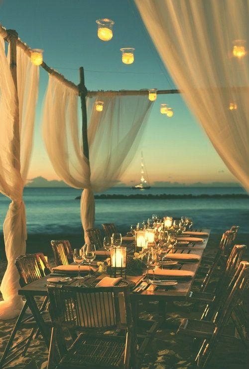 Evening beachside reception
