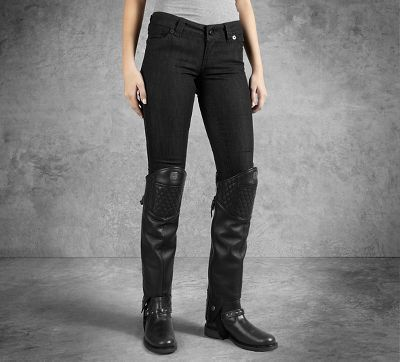 A clever solution for when just a little coverage is called for. These women's motorcycle chaps cover the bottom half of your legs and include a very sassy faux fur trim lining at the knee. | Harley-Davidson Women's Leather Half Chaps #harleydavidsonchaps