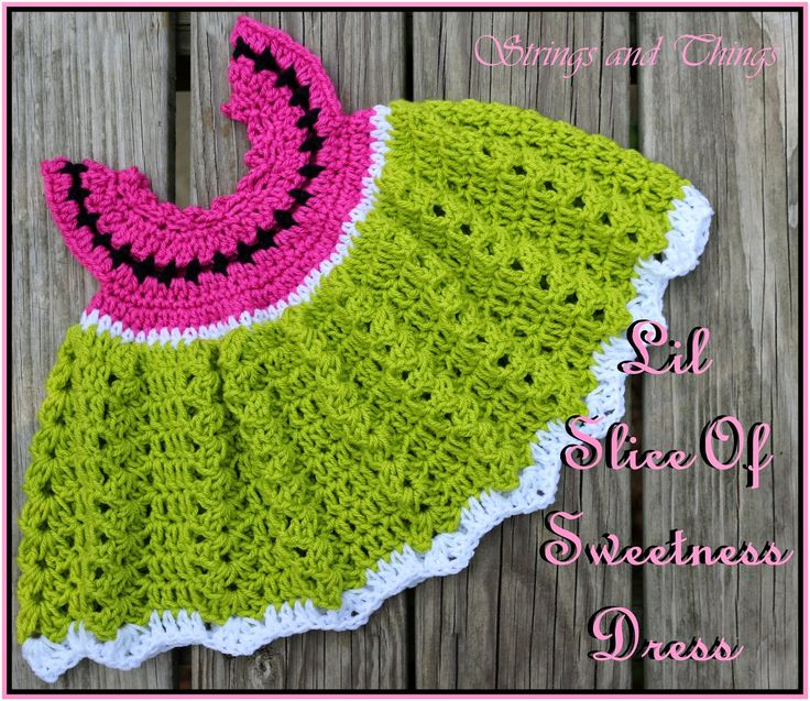 "Crochet Supernova: Lil Slice Of Sweetness Dress ~FREE PATTERN~ DRESS IS A 3-6 MONTH SIZE, but add length to skirt, would still fit a larger child .... chest as is = 18"" (its stretchy so give or take); honestly it could go all up to a 21 or 22 .."