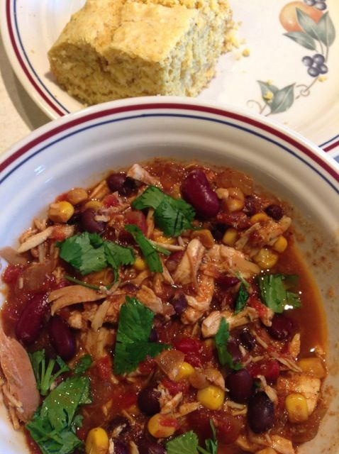 This crockpot recipe for Chicken Taco Chili makes the whole house smell good and it tastes great. Perfect way to end a crisp, fall day.