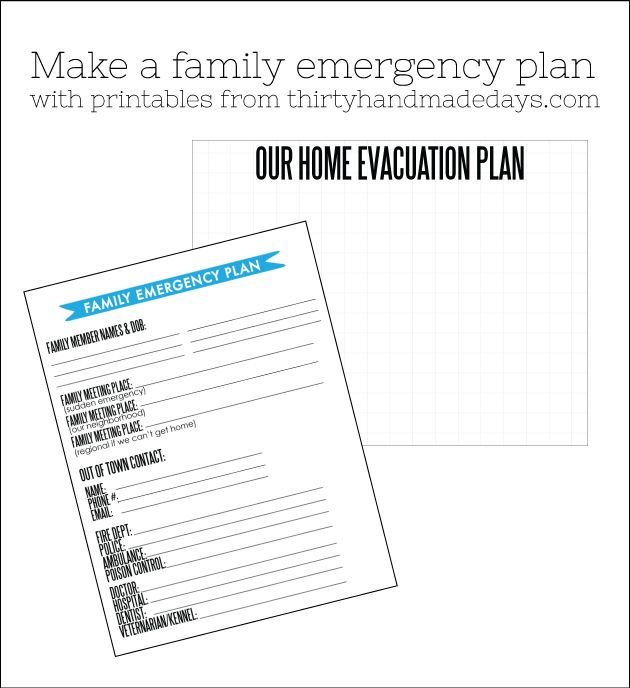 Make a family evacuation plan in case of an emergency using these printables from www.thirtyhandmadedays.com