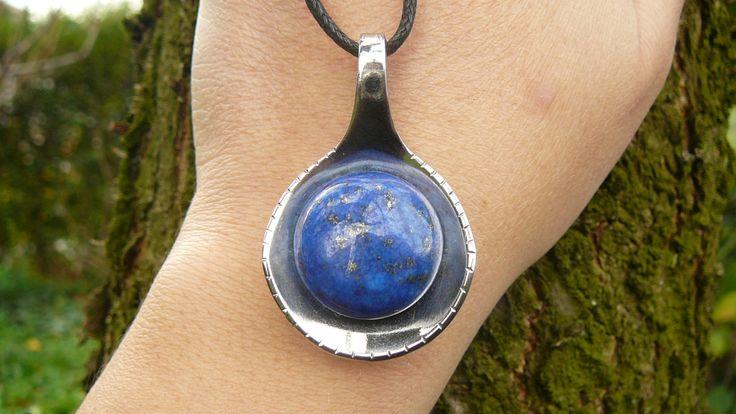 Lapis Lazuli Necklace ~ Spoon necklace ~ Recycled Jewelry ~ Gemstone Necklace ~ Lapis Pendant ~ Ucycled Spoon pendant ~ OOAK gift by KrasiiIvWonders on Etsy