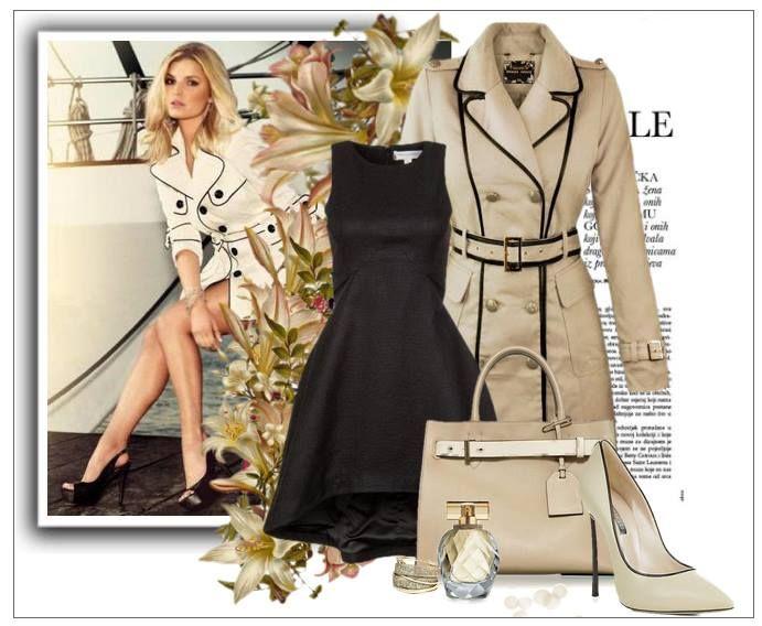Stylizacja płaszcz damski wiosenny klasyczny dwurzędowy z lamówką skórkową model #92 kolor beżowy w sklepie FASHIONAVENUE.PL