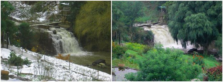 Look what a difference summer rain makes to the waterfall at The Falls Cottages! www.midlandsmeander.co.za