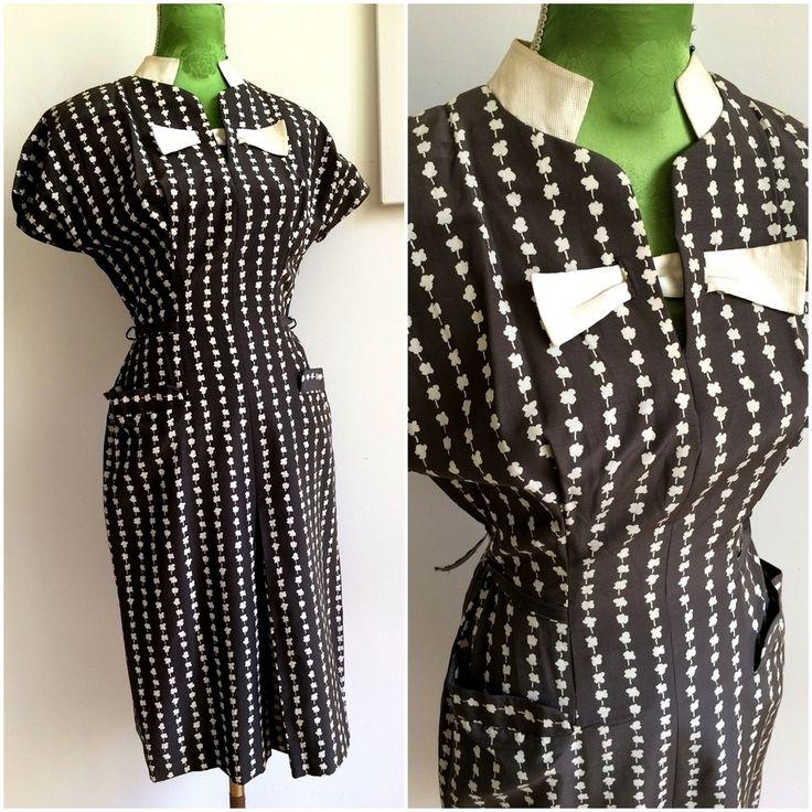 40s 50s - DEADSTOCK - Grey & White Waffle Secretary Dress  - W28 (72cm), €130