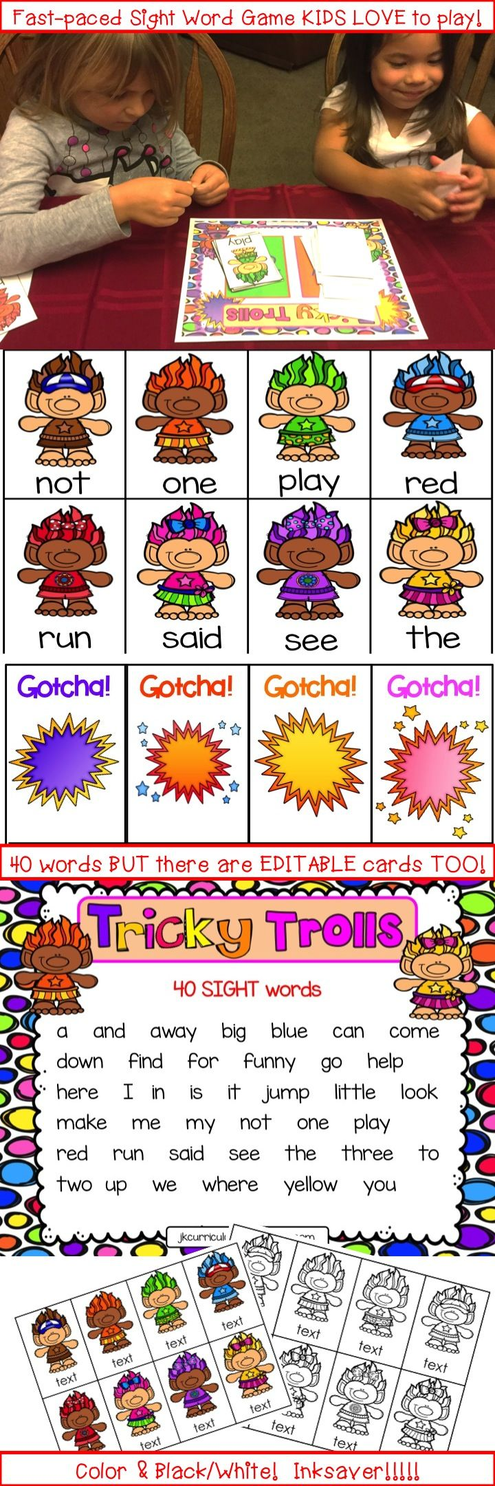 This is one of our best-selling game formats!  Kids LOVE playing it and beg to play over and over again.  With the new Trolls movie out this game will be a hit in your Kindergarten or 1st grade classroom!  Find it at our TPT store: JK CurriculumConnection or click the link: https://www.teacherspayteachers.com/Product/Sight-Word-Game-Tricky-Trolls-2869374