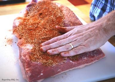 Brisket Brown Sugar Rub ~ This is a good, sweet brisket rub that you will need only one measuring cup for. Of course, you can adjust the heat by using a hot or mild chili powder. - Regarding BBQ Inc.