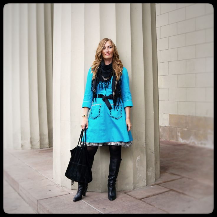 """Monday blues - Outfit of the day: Beautiful Sabina wearing the Turquoise """"Pang"""" dress. Made from 100% organic, hand-printed cotton sateen. Check it out on the webshop:"""