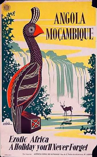 Angola Mozambique | Vintage travel poster.  www.BelAfrique.com