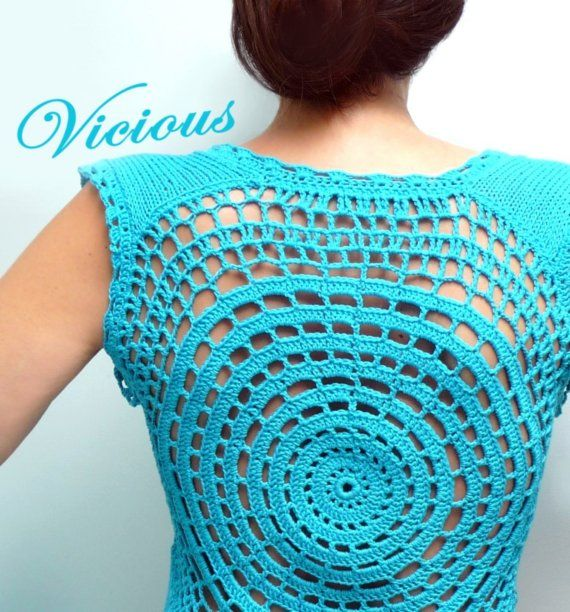 Crochet and Knit Turquoise Cotton Tank top Vest  Spring by ixela, $90.00
