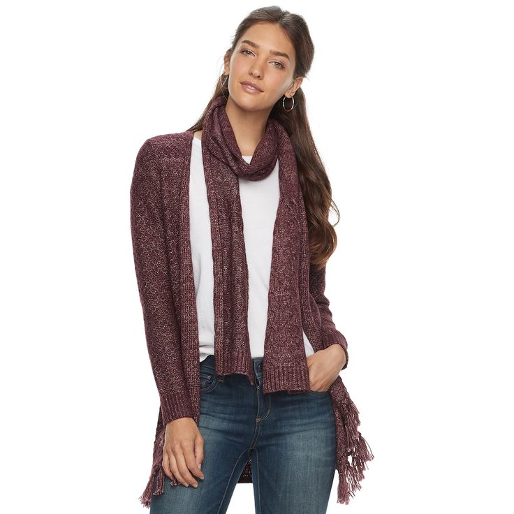 Women's SONOMA Goods for Life™ Scarf & Cardigan, Size: Medium, Purple