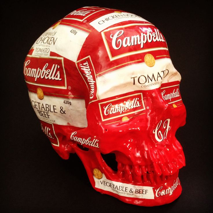 """Title - """"A Tribute to Andy"""" by SKOLLTOR. Pop-art skull sculpture, influenced by Andy Warhols pop-art screen prints."""