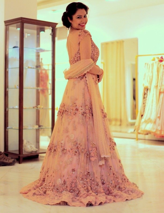 Beautiful Blush Pink Gown For Indian Engagement Dollyj Wedmegood