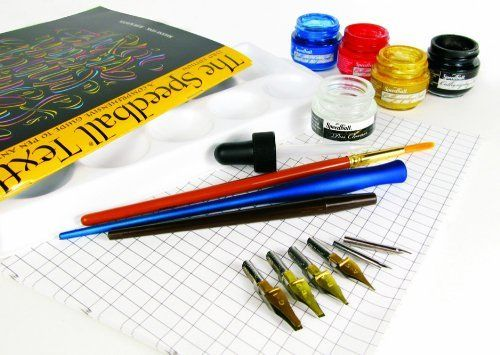 Designed for pen-and-ink artists, letterers, and calligraphers. Kit contains (1) ea. of the following: .41 oz. (12 ml) Super Pigmented Acrylic Drawing & Calligraphy Inks (Scarlet Red, Indigo Blue, Gold); 2 oz. (59.1 ml) Pen Cleaner; C1, C2, B4, A5, No. 102 Crow Quill, and No. 107 Hawk Quill Nibs; Sapphire and Crow Quill Pen Nib Holders; The Speedball Textbook; tracing and practice papers; five-well palette; eyedropper For more information…