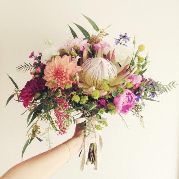 Protea and dahlia wedding bouquet