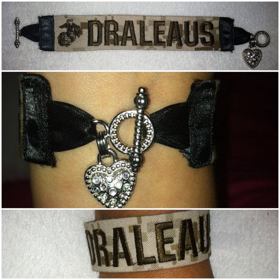 Nametape Bracelet with Heart toggle clasp by SemperBonita on Etsy, $14.00