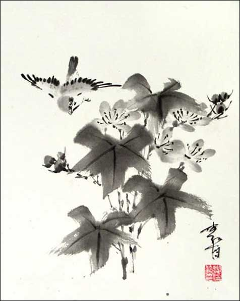 ksparrow-and-leaves.jpg (476×596) Featured artist: #JanZaremba #brushpainting#sumie http://www.asianbrushpainter.com/blog/gallery/jan-zaremba/