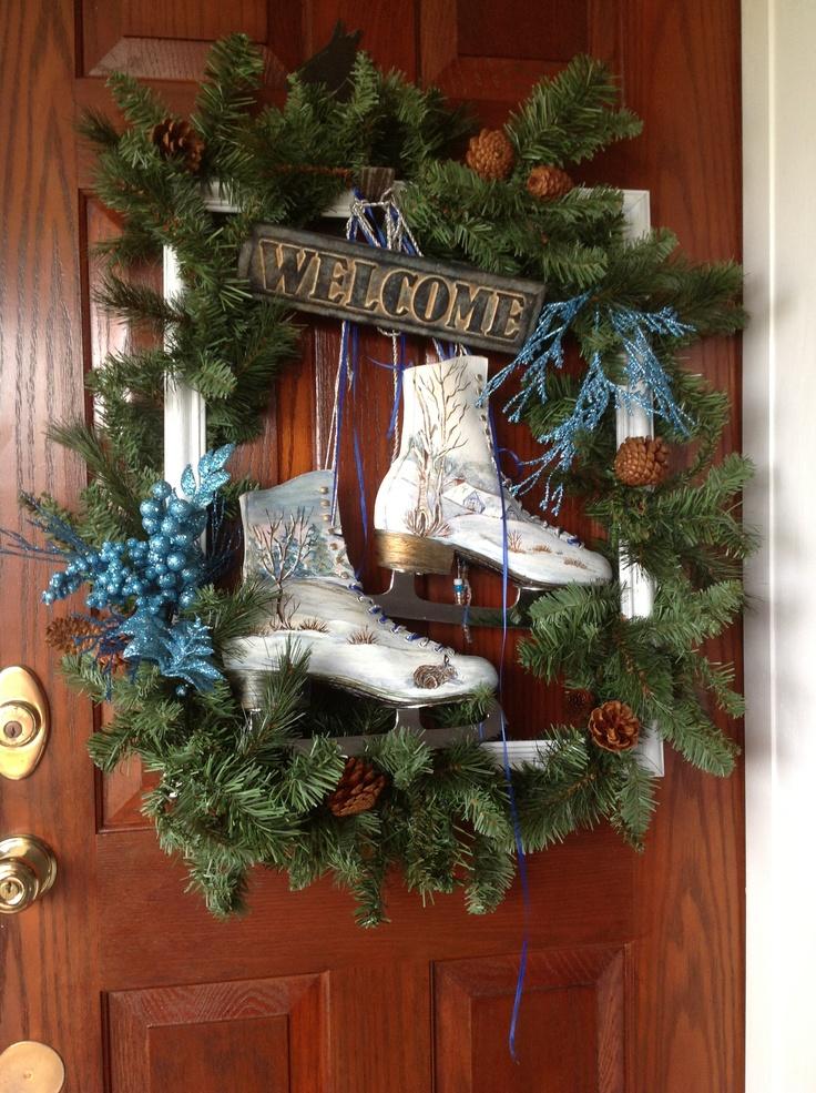 Hand painted ice skates, old frame, garland, Hobby Lobby embellishments