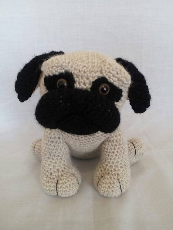 Crochet Pug  Pug dog gifts  Soft toy Pug  by CarrotTopsCharacters