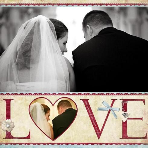 Wedding scrapbook layout for picture under the chupa during ceremony - very large photo - photo inside heart shape