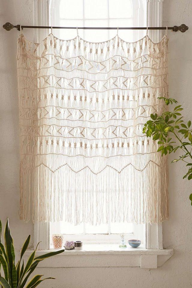 Macrame window covering for bathroom