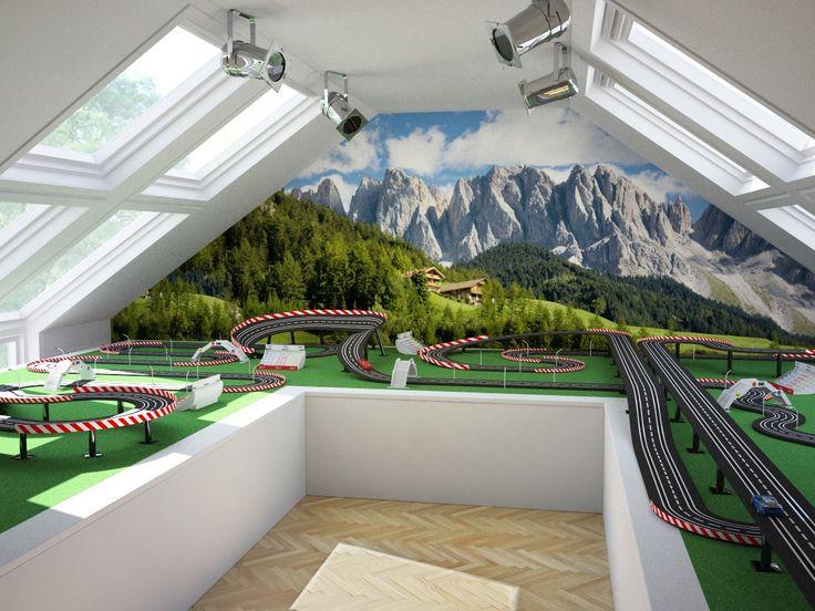 Carrera Bahn unterm Dach.