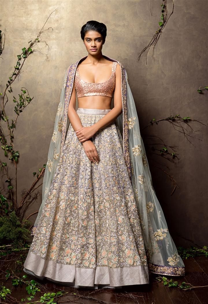 SHYAMAL & BHUMIKA A Little Romance Nude #Lehenga With Sparkly Pink #Blouse & Pistachio Green Dupatta.
