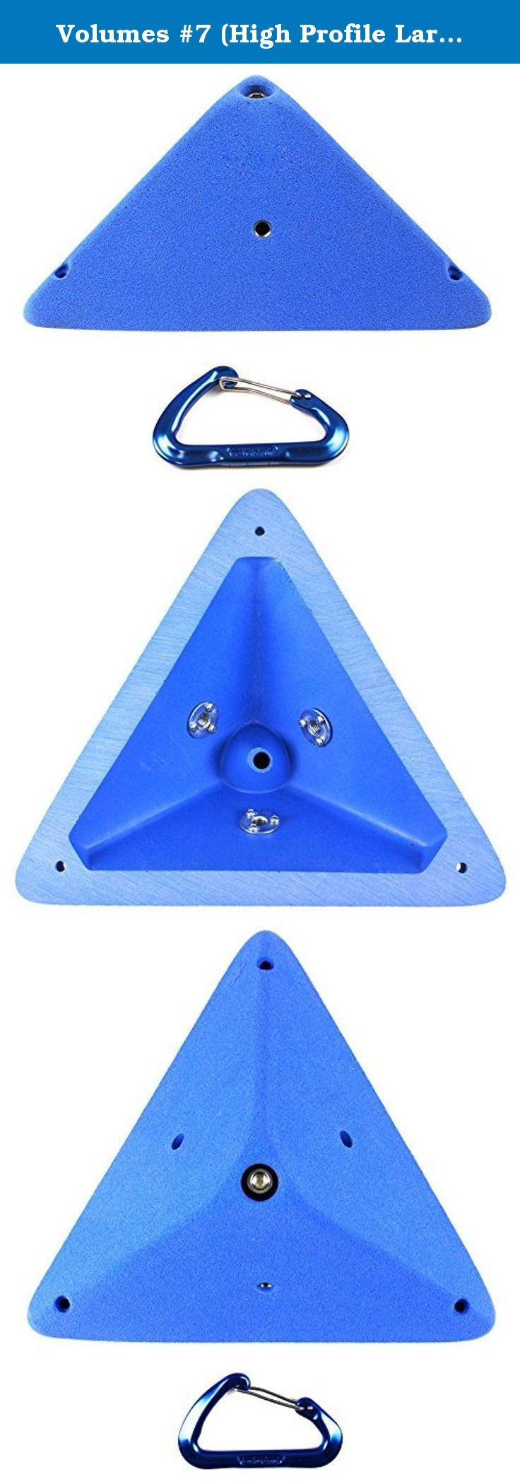 "Volumes #7 (High Profile Large Surface Triangle) | Climbing Holds | Blue. Volume #7 Large enough surface area to bolt large and extra large holds on to it yest small enough to stack on big volumes like the wood ones Motavation manufacture. Base Dimensions : 11 1/2"" x 12"" x 11 1/2"" Stands out from the wall: 4 1/2"" T-nuts installed: 3 round base brad hole t-nuts. Attachment method : One single 3/8-16 Allan head bolt and/or 3 #8/#10 screws."