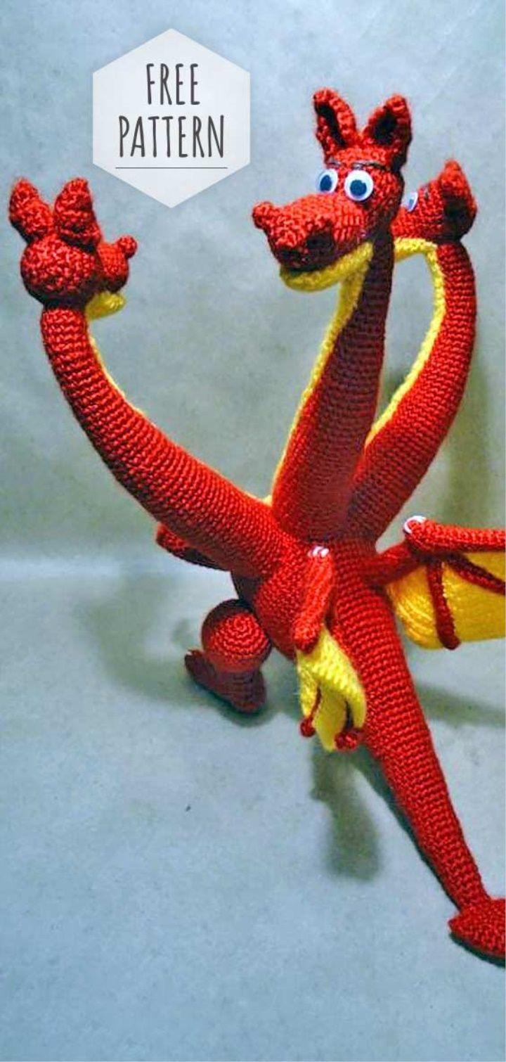 PATTERN - Lars the Dragon - amigurumi pattern, crochet pattern ... | 1510x720