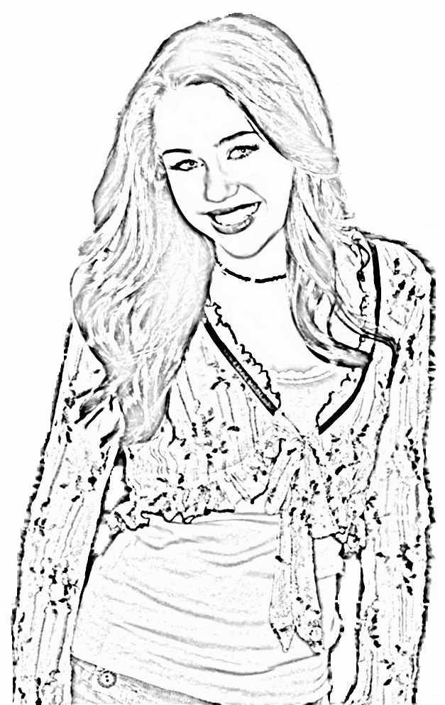 Smiling Happy Hannah Montana Coloring Page For Kids