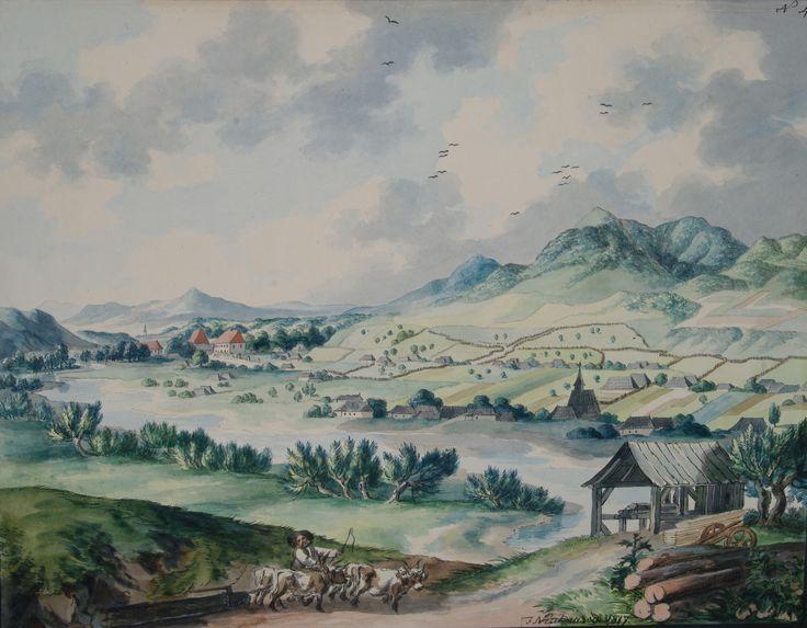 Franz Neuhauser the Younger - Peisaj cu biserică de lemn