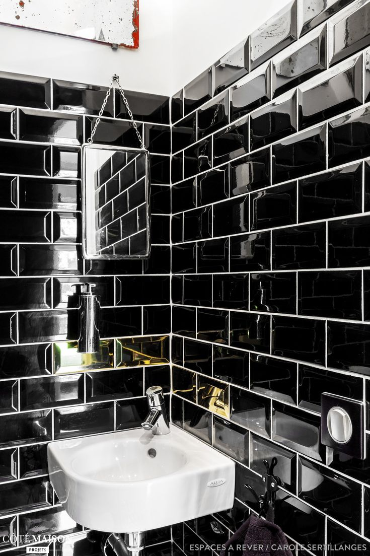 les 25 meilleures id es de la cat gorie carreaux de m tro noirs sur pinterest salle de bains. Black Bedroom Furniture Sets. Home Design Ideas
