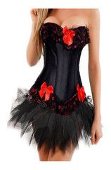 atomic black and red corset with tutu  strapless corset