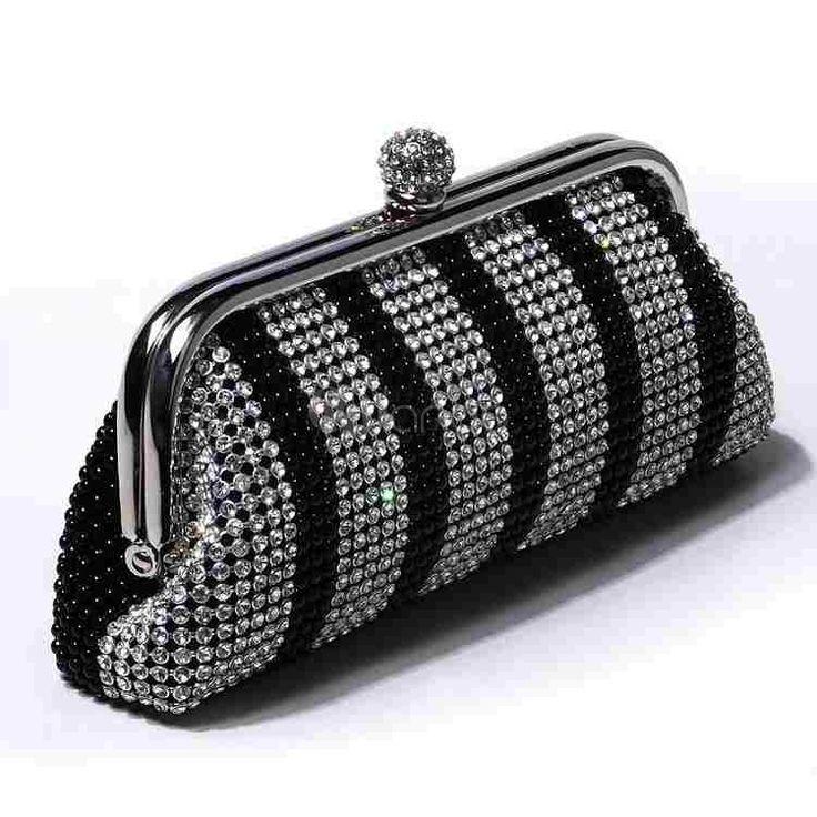 Pochette à main élégante en rhinestone à kiss lock - Milanoo.com