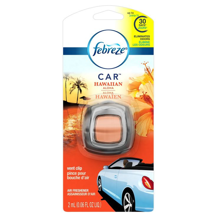 Febreze CAR cleans away vehicle odors with OdorClear™ Technology so they're gone for good. Simply attach this car air freshener to the air vent to begin cleaning your car of odors and slowly release a light, fresh scent for up to 30 days.* The scent dial puts you in the driver's seat, allowing you to select the perfect amount of freshness for you and your passengers. Don't give odors a ride. Eliminate them with Febreze CAR. *On low and under ambient conditions.<br>A...